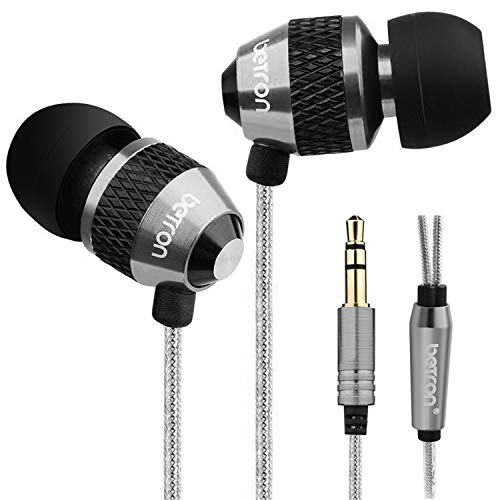Betron B25 Earphones, Noise Isolating In-Ear Wired Headphones with Strong Bass, Tangle-Free Cord, Lightweight, Carry Case and Soft Earbud Tips, Black