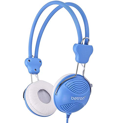 Betron NT902 Kids Headphones, Safe Volume Limiting Kids Headphones with Adjustable Headband, Lightweight Feel and Comfortable Earpads, Suitable, Compatible with Smartphones, Laptops, etc. Blue