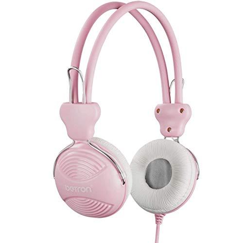 Betron NT902 Kids Headphones, Safe Volume Limiting Kids Headphones with Adjustable Headband, Lightweight Feel and Comfortable Earpads, Suitable, Compatible with Smartphones, Laptops etc. Pink