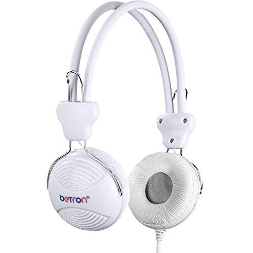 Betron NT902 Kids Headphones, Safe Volume Limiting Kids Headphones With Adjustable Headband, Lightweight Feel And Comfortable Earpads, Suitable, Compatible with Smartphones, Laptops etc. White