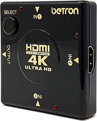 Betron HDMI Switch, Switcher 3 Port, Gold Connectors, 3D support, HDMI v1.4 for HDTV, PS3, Xbox One, 360, Bluray Player, DVD Player etc (HDMI Switch)