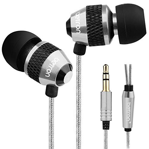 Betron B25 Earphones, Noise Isolating In-Ear Wired Headphones with Strong Bass, Tangle-Free Cord, Lightweight, Carry Case and Soft Earbud Tips, Silver