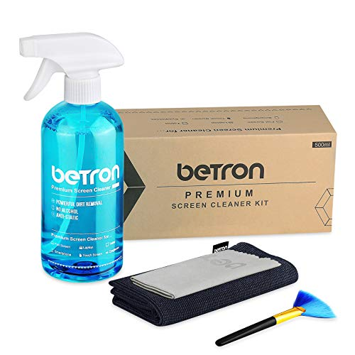 Betron TV Screen Cleaner including Microfibre Clothes and Dust Brush for LED, HDTVs, PC monitors, E-Readers, Tablets, Laptops, Smartphone, HD Displays, Camera Lenses, 500ml