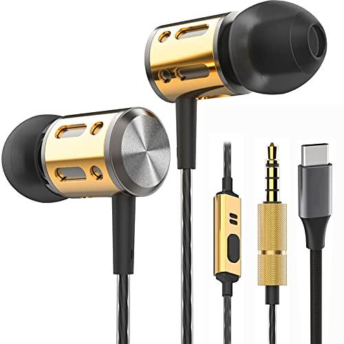 Betron AX1C Earphones, In Ear Headphones Earphones with Microphone and USB Type C Connector Adapter