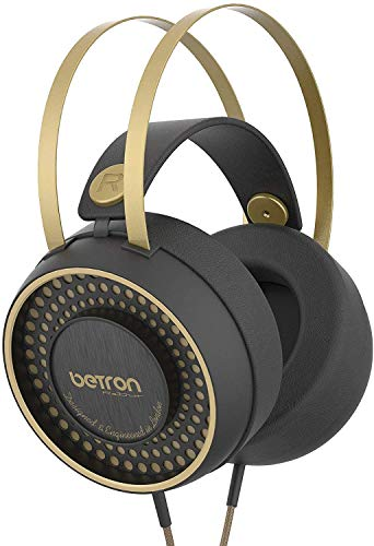 Betron Retro Over Ear Headphones, Noise Isolating, Powerful Ear Phone Set With Bass Driven Sound, Self Adjusting Headband and Comfortable Earpads