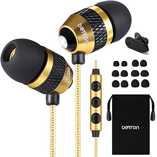 Betron B25 Earphones with Microphone and Volume Control, Wired Noise Isolating In-Ear Headphones, Silicon Earbuds and Carry Case, Gold